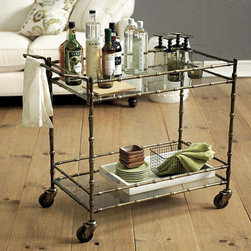 Ballard Designs - Jill Bar Cart - One of the more affordable bar carts, this has a great vintage faux bamboo look for the price.