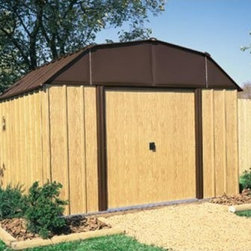 Arrow Woodview 10 x 14 ft. Shed - The Arrow Woodview 10 x 14 ft. Shed opens up to reveal 852 cubic feet of storage space, ideal for lawn care tools, pool equipment, bicycles and more. This versatile storage shed features durable vinyl-coated steel siding with an electro-galvanized roof that is five times thicker than standard steel. The tall 62-inch sidewalls provide ample headroom while you're working, or extra space to compact your storage. The attractive wood grain siding features a tan and brown color palette that easily blends with any home and the barn-style roof provides an attractive rounded top for your yard.The two sliding doors are extra-wide for storing large items such as snowmobiles, tractors and more and come complete with a door lock for safety. A baked on enamel finish ensures a prolonged performance from this durable and aesthetically pleasing storage shed. For easy assembly, all parts arrive pre-cut and pre-drilled; all you have to do is assemble them together. A concrete base is recommended for this structure. Assembly is a weekend project for one or two people.Additional Features:Door dimensions: 55.5W x 60H inchesExterior dimensions: 123.25W x 162.75D x 87.88H inchesInterior dimensions: 118.25W x 157.5D x 86.63H inchesSize: 10 x 14 ft.About Arrow ShedsEstablished in 1962 as Arrow Group Industries, Arrow Sheds is now the worldwide leader in designing, manufacturing, and distributing steel storage sheds that are easily assembled from a kit. Arrow Sheds hasn't garnered its 12 million customers by resting on its laurels either. The company takes great pride in having listened to their customers over the years to develop quality products that meet people's storage needs. From athletic equipment to holiday decorations, from tools to recreational vehicles, Arrow Sheds prides itself on providing quality USA-built structures that offer storage solutions. Available in a wide variety of sizes, models, finishes, and colors - Arrow's sheds are constructed with electro-galvanized steel to be more affordable, durable, attractive, and easy to assemble.
