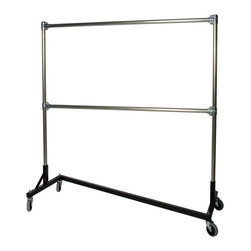 Quality Fabricators - Heavy Duty Steel 500 lb. Capacity Z Rolling Rack with 2 Hangrails - 260722BLK - Shop for Racks from Hayneedle.com! This double rail version of the heavy duty Z rack features 10 feet of storage on a 5 foot long garment rack. The Heavy Duty Z-Rack with two hang rails constructed by Quality Fabricators is a perfect addition to any home or business in need of extra hanging storage. This Heavy Duty Z-Rack offers 10 feet of storage on a 5 foot long garment rack. The Z-Rack has an amazing 500-pound weight capacity for garments or other hanging storage.With four wheels this rack is easily moved from one place to another. The welded base features a powder-coat finish in your choice of black blue red orange or yellow. Tubular steel uprights and hang rails have a durable galvanized plated finish. The second hang rail is attached with brace clamps making it adjustable to your desired height. The rack and base measure 63 inches long 23 inches wide and 78 inches high.About Quality FabricatorsQuality Fabricators is dedicated to providing the best quality garment racks and accessory products to buyers all over the world. Strength quality and rapid delivery are the hallmarks of Quality Fabricators and their American-made garment racks.