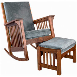 Bungalow Rocker - There are a couple of furniture pieces that we think of as our signature items. Made in the classic Arts and Crafts style, our Bungalow Rocker is one of these. You will look far and long before finding a rocker that matches this one for comfort and style. You choose the wood and fabric to make this your own personal masterpiece.