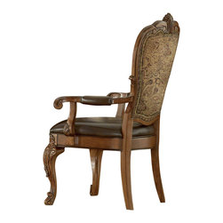 A.R.T. - A.R.T. Old World Upholstered Arm Chair in Cherry (Set of 2) - The traditional design of Old World is inspired primarily by classic European styles of antiquity. Clearly influenced by the later Renaissance period, which featured enrichment of ornament and outline, Old World reflects the elaborate details of the French and English translation of this significant architectural movement.