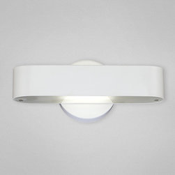 Eurofase - Dash Wall Sconce - Dash Wall Sconce features discreet source of indirect light (up and down). This fluorescent ADA wall sconce brings modern style to any application. Available in either a white or chrome finish with a frosted white glass shade. One 18-watt, 120 volt T5 GU11 compact fluorescent bulb comes included. Dimensions: 11.25W x 4.75H x 4D. ADA compliant.