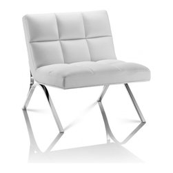 Creative Furniture - Renata White Eco-Leather Chair - Made to sit and luxuriate in fashionable comfort and style, this charming Renata White Eco-Leather Chair features a sleek European design covered in a luxurious white colored soft eco-leather.    Features: