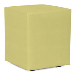 Howard Elliott - Sterling Willow Universal Cube Cover - Does your Universal Cube need an update? Do so by simply getting a new cover. Velcro fasteners and tailored design make it so you would never know this piece is slipcovered. Cleaning and updating is a breeze, change your look on a whim with new covers!. This Sterling Willow piece is 100% polyester finished in a soft burlap willow green color. 18 in. W x 18 in. D x 20 in. H