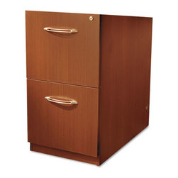 Mayline - Mayline Aberdeen Series File/File Credenza Pedestal, 15 W x 20 D x 27 D, Cherry - Thermally fused laminate offers an extremely attractive appearance. Lock secures contents and keeps them safe. Abrasion- and stain resistance surface. Ships fully assembled so set-up is quick and easy.