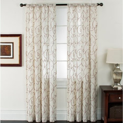 Window Accents - Window Accents Riverhead Linen Chenille Embroidered Rod Pocket Panel Pair - 29-4 - Shop for Curtains and Drapes from Hayneedle.com! The Window Accents Riverhead Linen Chenille Embroidered Rod Pocket Panel Pair have the natural weave and delicate drape you expect from linen. The linen cloth has a natural slub giving these curtains a shabby chic look. Sumptuous chenille yarn is woven in to create a beautiful scroll pattern throughout the curtain. The fabric is woven to help filter outside light. This set includes two machine-washable pole top pocket curtains that hang easily with a decorative rod.About Arlee Home FashionsArlee Home Fashions Inc. manufactures and markets household textiles like decorative pillows chair pads floor cushions curtains table linens and pet beds. The company was incorporated in 1976 and is based in New York New York.
