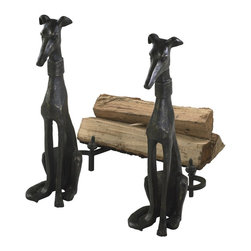 Cyan Design - Cyan Design Fireplace Dog Andirons (Pack of 2) X-55810 - These Cyan Design fireplace andirons set features two identical pieces for a seamless look. The slender bodies of the greyhound dogs add versatility to the set, allowing them to effortlessly compliment traditional or contemporary fireplace settings. Each dog also features a wide collar for added visual interest.