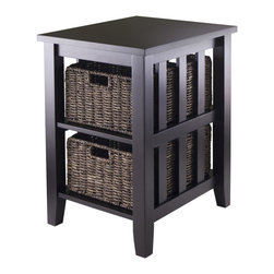 """Winsome Wood - Winsome Wood Morris Side Table w/ 2 Foldable Baskets in Espresso - Side Table w/ 2 Foldable Baskets in Espresso belongs to Morris Collection by Winsome Wood Morris Collection is perfect tables with plenty of storage. Side Table/End Table is 20""""W x 16.50""""D x 25""""H with 2 opening sections of 11.81""""W x 18.72""""D x 8.58""""H. Table comes with two foldable baskets made from Corn Husk, size 16""""W x 11""""D x 7""""H. Table made from solid and composite wood. Assembly Required. Side Table (1), Basket (2)"""