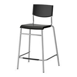 Henrik Preutz - STIG Bar stool with backrest - Bar stool with backrest, black, silver color
