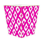 """Marye Kelley - Marye Kelley Fuchsia Ikat Decoupage Wastebasket with Optional Tissue Box, 11"""" Sq - This is a handmade decoupage wastebasket with optional tissue box.  All items are handmade in the USA.  There are three different styles available.  There is the 12"""" Fluted Tin Design, the 11"""" Square Design with a flat top or the 11"""" Square design with a scalloped top.  Coordinating tissue boxes may also be made. Please note all items are custom made and may not be returned."""