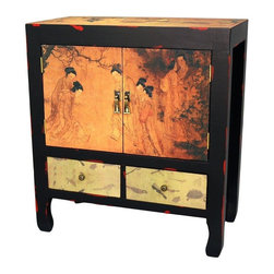 Oriental Furniture - Angels in the Garden End Table - Often displayed in pairs, distinctive nightstands or end tables, these are beautiful oriental style cabinets with classic Chinese folk art decoration. Well crafted with a lovely black over red distressed lacquer finish, and wonderfully decorated with elegant Asian art decoupage applique of ladies with musical instruments and in the garden. Providing both cabinet and drawer space, these are practical chests, and at over two feet tall, great for sofa or bedside tables.