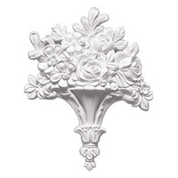 """Ekena Millwork - 10 5/8""""W x 13 1/4""""H x 1 3/4""""P Flower Basket Center Onlay - 10 5/8""""W x 13 1/4""""H x 1 3/4""""P Flower Basket Center Onlay. Our appliques and onlays are the perfect accent pieces to cabinetry, furniture, fireplace mantels, ceilings, and more. Each pattern is carefully crafted after traditional and historical designs. Each polyurethane piece is easily installed, just like wood pieces, with simple glues and finish nails. Another benefit of polyurethane is it will not rot or crack, and is impervious to insect manifestations. It comes to you factory primed and ready for your paint, faux finish, gel stain, marbleizing and more."""