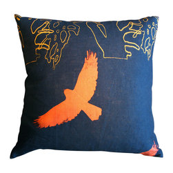 Hawk and Trees Throw Pillow - Colors and designs taken from nature are right at home on this elegant hand sewn and hand printed pillow. The hawk motif adds a fanciful modernity to any bedroom, or as a feature in your living room that will be sure to add continuous comfort.