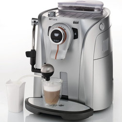 Saeco Odea Cappuccino Automatic Espresso Machine - Part of the Odea line designed by BMW DesignworksUSA, the Odea Giro Plus Cappuccino features Saeco's latest innovations including a Giro (dial) interface, ceramic disc grinder, drip tray with manual Touch Lift technology and OptiDose, to adjust the aroma of your favorite coffee. Using the Giro dial to adjust beverage volume, it is easier than ever before to customize and brew gourmet coffee drinks at home. Thanks to Rapid Steam®, you can use the redesigned steam wand for manual milk frothing or dispensing hot water for tea. Or switch the Pannarello for the exclusive Cappuccinatore to create quick, delicious cappuccinos and lattes. Designed with modern form and function, the Odea Cappuccino makes a statement in both style and flavor.