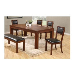 Winners Only - Franklin 5 Pc Dining Table Set - Includes table and four side chairs. Bench sold separately. Rectangular shaped table. One 18 in. butterfly leaf. Cushion back side chair with X back. Upholstered seat. Table minimum: 48 in. L x 42 in. W x 30 in. H. Table maximum: 66 in. L x 42 in. W x 30 in. H. Chair: 18.5 in. W x 21 in. D x 38 in. H
