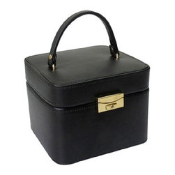 Morelle - Emma Small Leather Jewelry Box, Black. - Lovely leather jewelry box with compartments for rings, necklaces, bracelets and earrings. Features mirror on inside lid and separate takeout compartment for added organization. Also includes lock and key for safety.