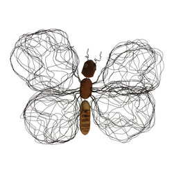 Asian Art Imports - Chin butterfly, Small - Handcrafted using reclaimed wood and wire, these butterflies have a delicate look coupled with a whimsical character that only a true artist could capture.