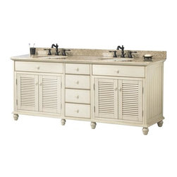 Pegasus - Cottage Double Bathroom Vanity - CTAAT7222D - Manufacturer SKU: CTAAT7222D. Faucets and sinks not included. Classic cottage design. Mohave beige granite vanity top with 8 in. faucet drillings. Louvered door. Four drawers with fully extending drawer glides. Dovetail drawer construction for stronger joints. Matching wood knobs and nickel hinges. Bun feet. Premium antique white finish. No assembly required. 72 in. W x 21.63 in. D x 34.75 in. H (270 lbs.)