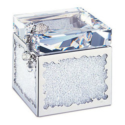 Swarovski - Swarovski Crystalline Treasure Box - Swarovski Crystalline Treasure Box  -  Size: 2 15/16 x 2 15/16  -  Fine Silver Crystal  -  Made In Austria  -  Treasure box with fully faceted clear crystal lid; sides filled with clear crystal chatons. Tassel accent with clear crystal beads.
