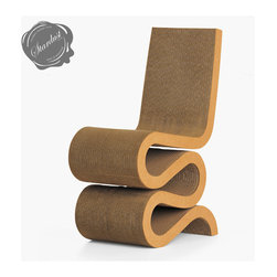 """Frank Gehry Wiggle Chair - The Frank Gehry Wiggle Chair is one of our favorite pieces of modern furniture. A beautiful and timeless Frank Gehry design. The Wiggle Chair was designed by the leading contemporary architect Frank Gehry. The Frank Gehry Wiggle Chair is produced by Vitra in Europe. Frank Gehry is one of the world's most important contemporary architects. Frank Gehry likes to use unusual materials for his architecture and furniture. With the series """"Easy Edges"""" from 1972, he succeeded in lending such everyday materials as cardboard a new aesthetic dimension.  Available from: http://www.stardust.com/WIGGLECHAIR.html"""