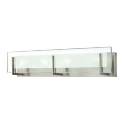 Hinkley - Hinkley 5654BN Latitude 4 Light Bath Wall Sconce in Brushed Nickel 5654BN - Latitude is contemporary and sleek, finding its true beauty in the minimalist design. The thick glass panel features rectangular etching while subtle, yoke-mount holders add understated architectural style.Bulb includedADA Compliant: No Back Plate Height: 4-3 4 Back Plate Width: 25 Bulbs Type: G9 Halogen Certification: c-UL-us Damp Collection: Latitude Energy Star Compliant: No Extension: 4 Finish: Brushed Nickel Glass: Clear Beveled Inside-Etched Height: 5-3 4 Material: Steel Number of Lights: 4 Socket 1 Base: G-9 Socket 1 Max Wattage: 60 Style: Transitional TTO: 3-1 4 Voltage: 120 Wattage: 60 Weight: 10 Width: 26