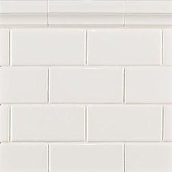 Ceramic Basics Capriccio Tile, White Gloss - White subway tile backsplash is an easy choice. It's affordable and clean.