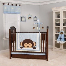 Maddox Monkey 10-piece Crib Bedding Set - About Pam Grace CreationsPam Grace Creations was created by Pam Val, a loving wife and mother of four, in January of 2006. Pam had seven years of experience in the baby bedding and nursery decor industry from working with her sister to run their own baby product business. She brought this experience and knowledge of the industry to her own company, and Pam Grace Creations was born. Pam is committed to providing new parents a combination of style, affordability, and convenience, and to that end she created her Nursery-to-Go 10 piece baby bedding sets. These sets include everything parents need to outfit their new baby's room in a range of styles and color palettes at an affordable price--without having to hunt down their nursery items piece by piece.