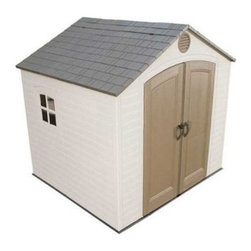 Lifetime 8 x 5 ft. Outdoor Storage Shed - Additional features:2 corner shelves for storageTwo 30 x 10-inch shelvesOne 90 x 9-inch shelfTwo 16-inch peg strips with tool hooksExterior dimensions: 8W x 4.625D x 8H feetInterior dimensions: 7.5W x 4.5D x 7.8H feetDoor dimensions: 4.6W x 6.3H feetJust what you need to keep all your gardening tools organized and easily accessible, the Lifetime 8 x 5 Foot Outdoor Storage Shed offers plenty of storage, thanks to its 232.7 cubic feet of space. Constructed from high-density polyethylene (HDPE) plastic with powder-coated steel reinforcements, this sturdy shed from Lifetime Sheds is weather- and- rust-resistant and designed to withstand the harshest elements for years to come. This shed is UV-protected and stain-resistant, so it requires no painting. That means more free time for you. Double doors allow easy access to the inside, while an internal spring latch, interior deadbolts, and an exterior padlock loop ensure the security of your property. A lockable, sliding window, two skylights, and two screened vents let in enough natural light, so you can easily make your way around during the day. Two corner shelves, two 30 x 10-inch shelves, one 90 x 9-inch shelf, and two 16-inch peg strips with tool hooks allow you to create the perfect storage area to suit your needs. This shed comes with a 10-year limited manufacturer's warranty. Assembly is a weekend project for one or two people.For your convenience, liftgate service is included with this purchase. This means that upon delivery, the carrier will use a liftgate on the truck to lower your item to the ground. You will then need a dolly or handtruck, or assistance with the product from that point on. Many retailers charge for this service of getting the package off the truck or require the customer to do it themselves.About Lifetime ProductsOne of the largest manufacturers of blow-molded polyethylene folding tables and chairs and portable residential basketball equipment, Lifetime Products also manufactures outdoor storage sheds, utility trailers, and lawn and garden items. Founded in 1972 by Barry Mower, Lifetime Products operates out of Clearfield, Utah, and continues to apply innovation and cutting-edge technology in plastics and metals to create a family of affordable lifestyle products that feature superior strength and durability.
