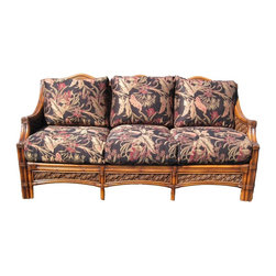 Spice Island Wicker - Wicker 3-Seat Sofa (Hampton Summer - All Weather) - Fabric: Hampton Summer (All Weather)Made from wicker. Brown wash finish. Includes cushions. No assembly required. 74.38 in. L x 34 in. W x 35 in. H (125 lbs.)
