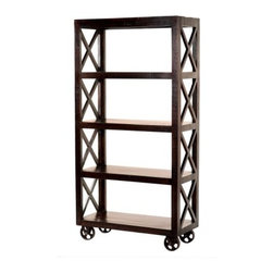 """YOSEMITE HOME DECOR - Book Case - X marks the spot. This bookcase is made of solid mango wood. The soft but raw textured case has a beautiful dark espresso finish. Featuring a safety pin stop for added security. Assembled, Made in India.  Overall Item Dimension 36""""Wx16""""Dx71""""H"""