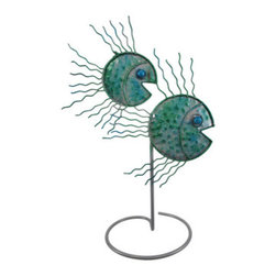 13 Inch Abstract Metal Fish Statue Table Decor - This beautiful hand-painted metal abstract fish statue measures 9 inches long, 5 1/2 inches wide, and 13 1/2 inches tall. Featuring wonderful personality, with blue and green enamel accents, this statue looks great on any table, desk or bookshelf, indoors or outdoors, and makes a great housewarming gift for fish lovers.