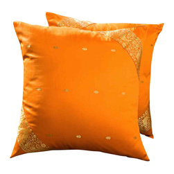 Indian Selections - Set of 2 Mustard Decorative Handcrafted Sari Cushion Cover, 24x24 inches - 6 Sizes available