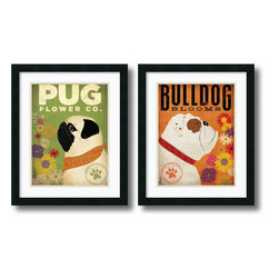 Amanti Art - Pug & Bulldog Florals - Set by Stephen Fowler - Bring on the springtime cheer with these lovable Pug and Bulldog themed flower shop print. Bright colors and an abundance of character make this a clear win for dog and flower lovers alike.