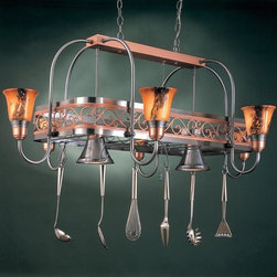 Hi-Lite MFG - Odysee 53 in. Pot Rack in Satin Steel Finish w Copper Frame - Includes six pot rack hooks. Accessories and bulbs not included. Eight-lite pot rack. Brown odysee glass. UL listed. Eight 100W MED INC for lamps. Made from steel. 53 in. L x 33 in. W x 21 in. HHi-Lite achieved success through attention to detail and stubbornness to only manufacturer the highest quality product. Hi-Lite has built its reputation as a premier lighting manufacturer by using only the finest raw materials, inspirational designs, and unparalleled service. This allows us great flexibility with our designs as well as offering you the unique ability to have your custom designs brought to Light.