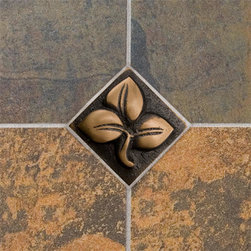 "2"" Solid Bronze Wall Tile with Clover Design - Burnished Bronze - Create a stunning focal point in your kitchen or bathroom with this 2"" solid bronze wall tile. Design a unique pattern with several tiles for a completely custom look."