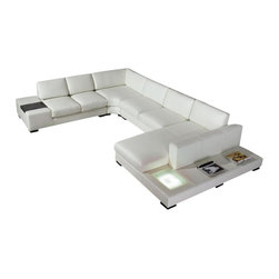 VIG Furniture - T35 - White Leather Sectional Sofa with Light - White Bonded Leather Sectional sofa set Solid hard-wood used in the frame construction All of the seats and backs are high density (1.9) foam to give comfort and support Wooden end table on one side of the sectional Side Light on the chaise Solid wood legs in espresso color