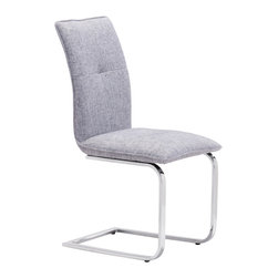Zuo Modern Contemporary, Inc. - Anjou Dining Chair Gray (set of 2) - Probably the most comfortable and well-conceived dining chair of our collection, the Anjou Chair has a slim silhouette that belies its comfort. It sits on chromed steel frame that has a slight reclining motion. A great chair for a great meal.