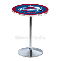 Holland Bar Stool - Holland Bar Stool L214 - Chrome Colorado Avalanche Pub Table - L214 - Chrome Colorado Avalanche Pub Table  belongs to NHL Collection by Holland Bar Stool Made for the ultimate sports fan, impress your buddies with this knockout from Holland Bar Stool. This L214 Colorado Avalanche table with round base provides a commercial quality piece to for your Man Cave. You can't find a higher quality logo table on the market. The plating grade steel used to build the frame ensures it will withstand the abuse of the rowdiest of friends for years to come. The structure is triple chrome plated to ensure a rich, sleek, long lasting finish. If you're finishing your bar or game room, do it right with a table from Holland Bar Stool.  Pub Table (1)