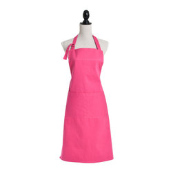 Saro - Denim Apron, Fuchsia - Dodge the spills with a colorful apron while you're prepping your next meal.