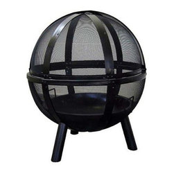 Landmann - Ball of Fire Outdoor Fire Pit - Great balls of fire!  This large screened ball looks great when you have a fire burning inside it.  Made from steel with a black finish it keeps sparks contained inside the mesh screen.  A section in the top pivots for access to the fire. * This fire pit will light up your gathering area with a mystical appearance of a Ball of Fire floating in midair at night. A large pivoting section with an extra large handle allows easy access to the fire. Other features include a 30 in. diameter fire bowl, unobstructed 360° views of the fire and all-steel construction. 30.25 in. L x 32.75 in. W x 34.75 in. H. Firebowl: 30 in.
