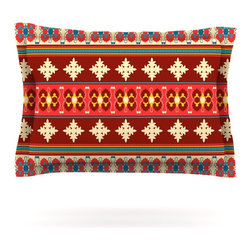 "Kess InHouse - Nandita Singh ""Borders Red"" Maroon Pillow Sham (Cotton, 40"" x 20"") - Pairing your already chic duvet cover with playful pillow shams is the perfect way to tie your bedroom together. There are endless possibilities to feed your artistic palette with these imaginative pillow shams. It will looks so elegant you won't want ruin the masterpiece you have created when you go to bed. Not only are these pillow shams nice to look at they are also made from a high quality cotton blend. They are so soft that they will elevate your sleep up to level that is beyond Cloud 9. We always print our goods with the highest quality printing process in order to maintain the integrity of the art that you are adeptly displaying. This means that you won't have to worry about your art fading or your sham loosing it's freshness."