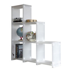 DLP-Design - Cubitec Base Shelving Solution, Translucent White - The Cubitec Shelving system (1998) offers  stability, strength, versatility and value. It is prized throughout Europe's retail shops, airports and offices for its limitless configurations, easy assembly and mutable aesthetic. One cubitec base set contains 18 shelves and joints.