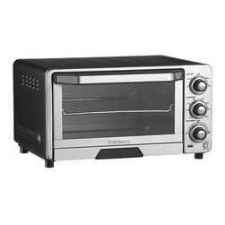 """Cuisinart® Toaster Oven-Broiler - Compact cooking versatility and modern design make this countertop toaster oven-broiler an ideal choice for today's lifestyle. Brushed stainless and black housing is outfitted with wire rack, broiling rack and baking/drip pan. Nonstick interior and removable front crumb tray are easy to clean. """"Always even"""" shade control monitors toasting temperature for maximum consistency; auto slide-out rack means convenient, hands-free loading and removal of foods. Instruction-recipe booklet included."""