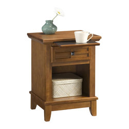 Home Styles - Home Styles Arts and Crafts Night Stand in Cottage Oak Finish - Home Styles - Nightstands - 518042 - Mission Styling at its best! The Arts and Crafts Night Stand embellishes typical mission styling with a framed drawer showcasing raised wood, lattice moldings and slightly flared legs. Finished in a cottage oak finish over hardwood solids and engineered woods with square, black matte hardware, this night stand's simplistic yet detailed design makes it an ideal piece for any bedroom setting. The top of the hidden pull-out tray features a scratch and stain resistant finish.