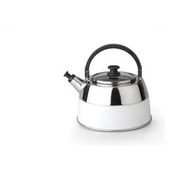 Berghoff - Berghoff Virgo Whistling Kettle - The Virgo White Whistling Kettle is constructed from 18/10 stainless steel with a white silicone exterior. Features a glass cover with stainless rim and black nylon handles for safe handling. Suitable for all heat sources.