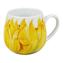 Konitz - Set of 4 Snuggle Mugs Sunflower - These beautiful Sunflower mugs give your kitchen a fresh look. Plant yourself at home with a good book and a warm cup of tea in this original floral mug. Round Snuggle Mug design fits your hands perfectly.