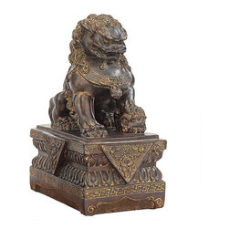 "EttansPalace - 9""H Tall Chinese Female Lion Foo Dog Statue - Adopt the ancient guardian lions who have traditionally stood before Chinese Imperial palaces, tombs, temples, government offices and homes of important officials since the Han Dynasty in 206 BC. Cast in quality designer resin to capture details including the xi qi ball under the male's right paw and the cub under the female's left paw, the foo dogs are highlighted with a warm bronze finish. These oriental yin and yang collectibles are sized for home, gallery or gift-giving. This three-dimensional, quality asian decor piece is - as you'd expect Each 4.5""W x 7""D x 9""H. 1 lb."