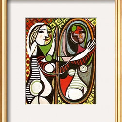Artcom - Girl Before a Mirror, c.1932 by Pablo Picasso Artwork - Girl Before a Mirror, c.1932 by Pablo Picasso is a Framed Art Print set with a COVENTRY Gold Thin wood frame and a Crisp - Bright White mat.