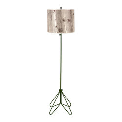 Flight Floor Lamp, Forest Green Base, Light Faux Bois on Silk Shade