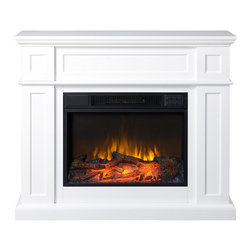 """None - 41"""" Wide Electric Fireplace Mantle in White - The compact size paired with the environmentally-friendly design make this indoor electric fireplace a wise investment."""